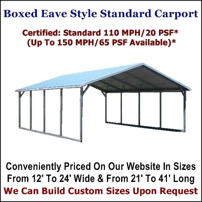 Boxed Eave Style Metal Carport