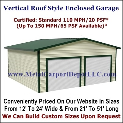 Vertical Roof Enclosed Garage